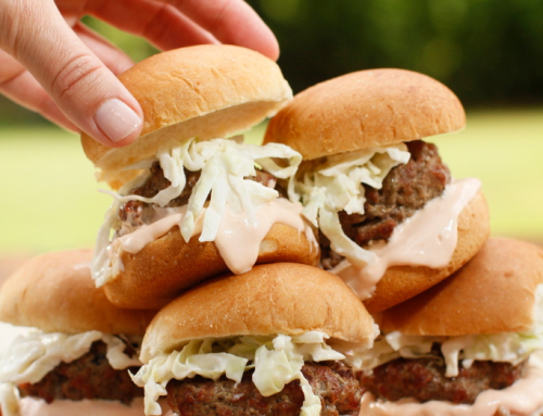 Buffalo Sliders with Blue Cheese Slaw